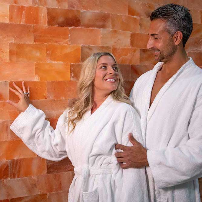 man and woman in halotherapy room